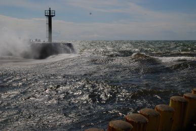 Breakers in the harbour entrance of Darlowo