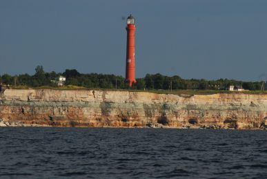A cape in Estonia with a lighthouse nearly falling off.