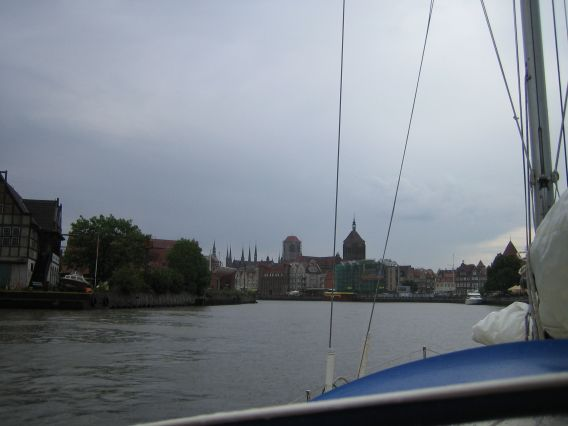 Entering Gdansk with the old city in the background